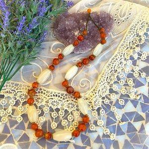 Vintage Carnelian/Agate & Moonstone Necklace